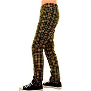 💚 Men's Run & Fly Green Tartan Plaid Trousers